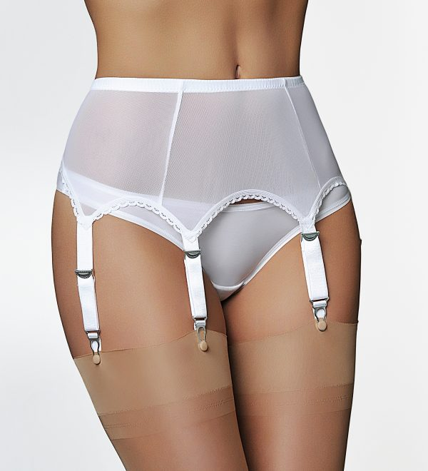 Suspenders Suspender Belt Shaper White 6 Strap Nylon Dreams NDL61 SM