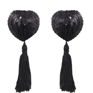 Black Nipple Tassels Burlesque Clothes RRNT01 Trans BackG