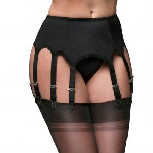 Suspenders Suspender Belt Black 10 Strap Nylon Dreams Front NDL11