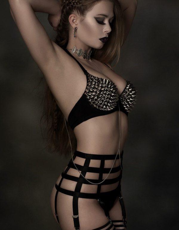 Suspenders Suspender Belt Black 6 Strap Nylon Dreams Promo 2 NDBTP6