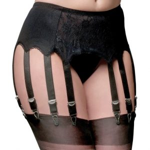 Suspenders Suspender Belt Black Lace 12 Strap Nylon Dreams Front NDL13