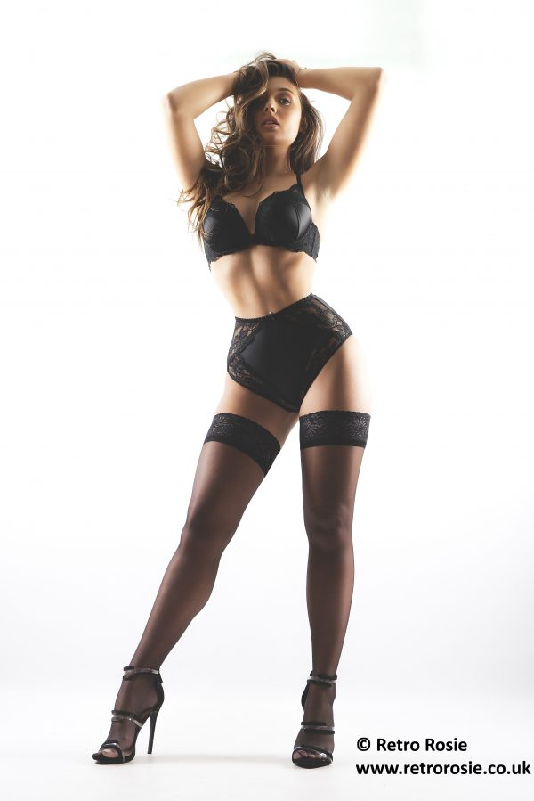 Black Lace Panties Underwear Knickers Lingeries High Waisted Cut Pin Up Slimming Panty Nylon 5p