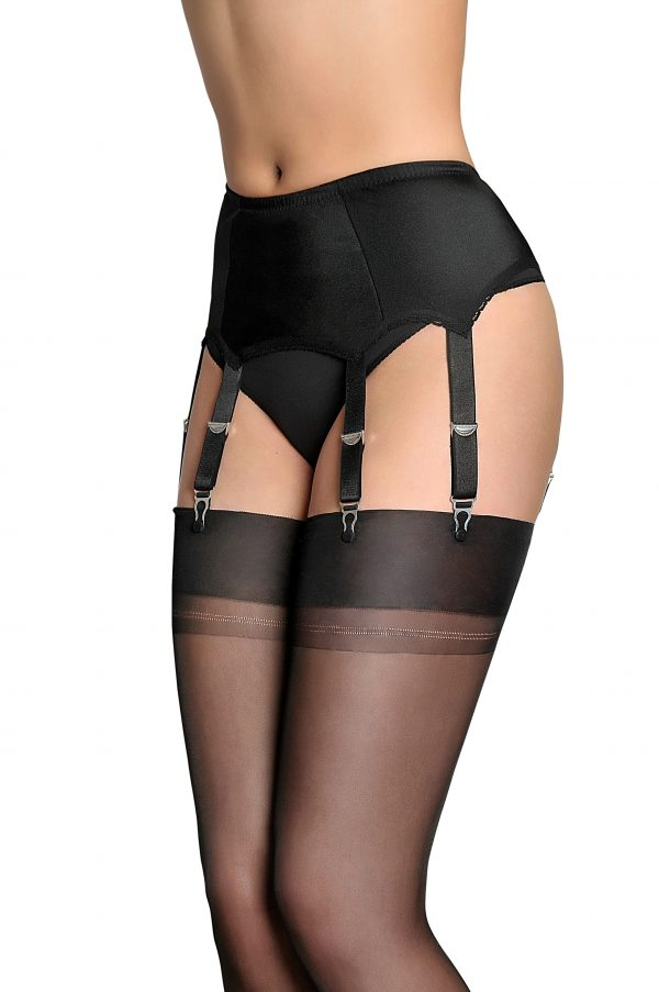 Suspenders Suspender Belt Black 6 Strap Nylon Dreams NDL2