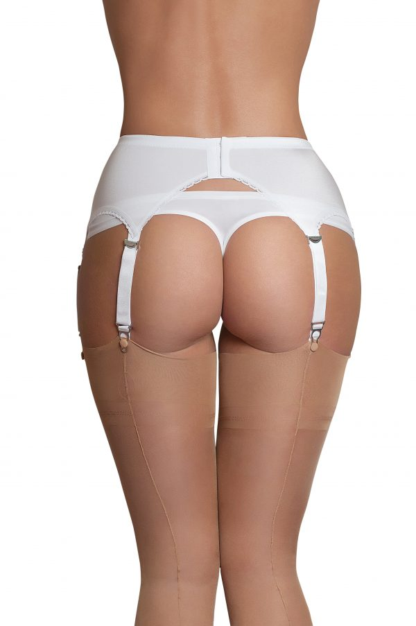 Suspenders Suspender Belt White 6 Strap Nylon Dreams Rear NDL2