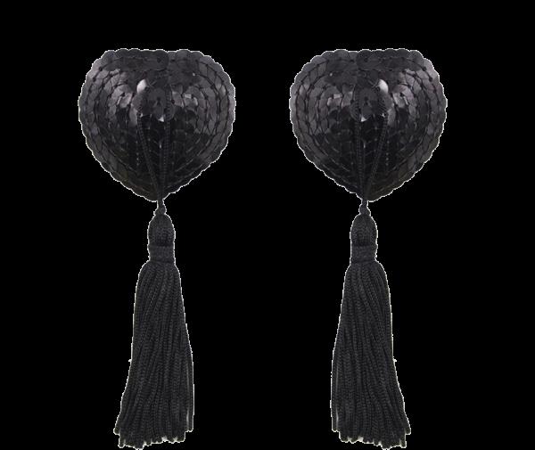 Black Nipple Tassels Burlesque Clothes RRNT01 Trans BackG