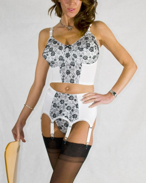 Bra Suspenders Set Suspender Belt Deep Waisted High Waisted White Nylon Dreams full 1 NDB06