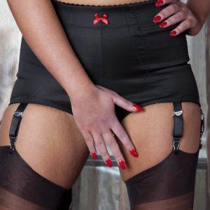 Girdle Open Bottom Stomach Body Black 6 Strap Nylon Dreams Front NDCG6