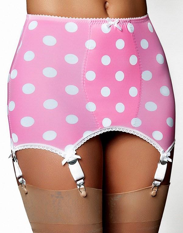 Girdle Stomach Body Pink White 6 Strap Nylon Dreams NDLBG6