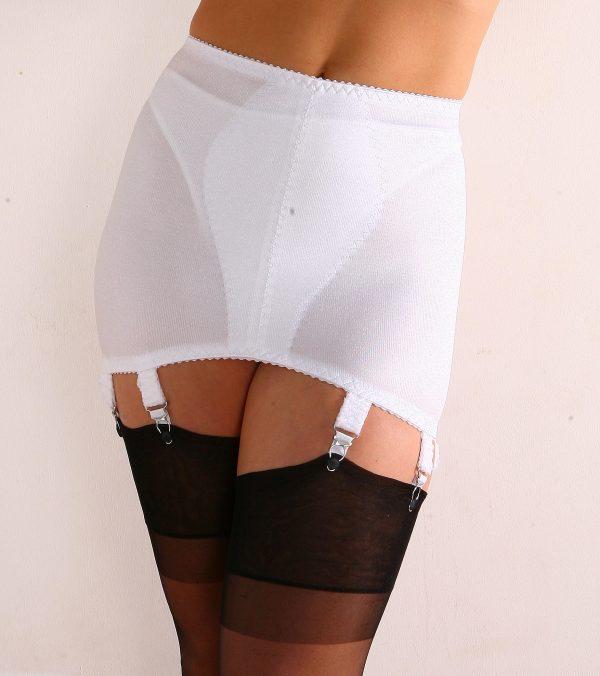 Girdle Stomach Body White 8 Strap Nylon Dreams NDG8