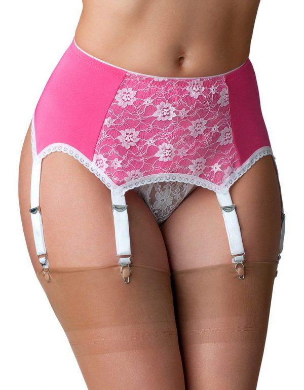 Suspenders Suspender Belt Pink White Lace 6 Strap Nylon Dreams Front NDL66