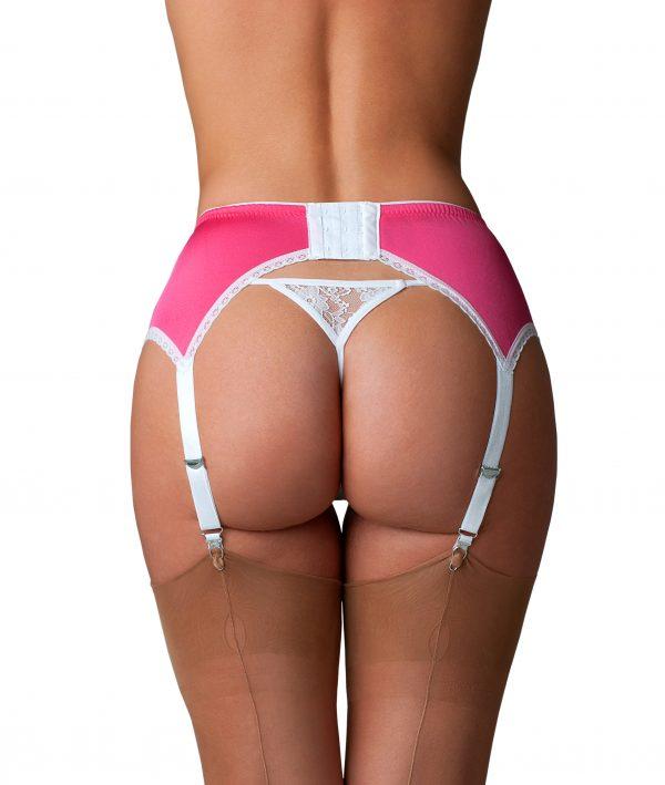 Suspenders Suspender Belt Pink White Lace 6 Strap Nylon Dreams Rear NDL66